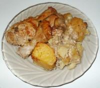 Куриные голени запеченные с грибами и картошкой
