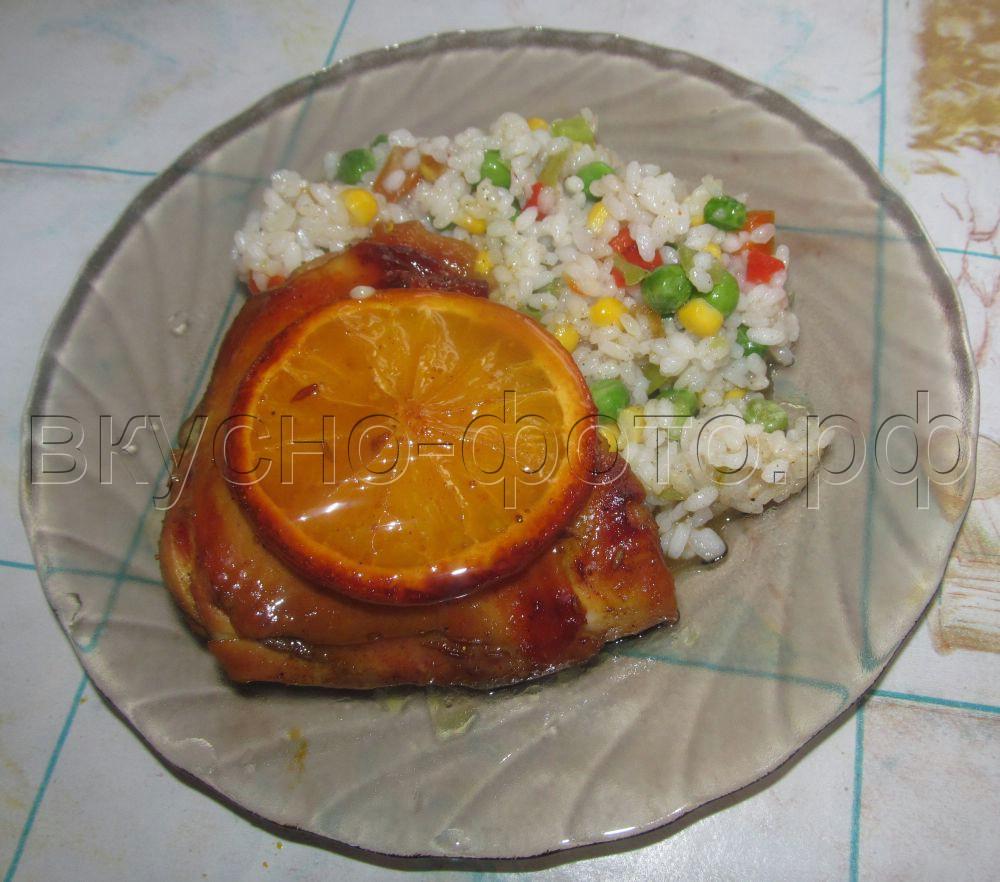Куриные бедра запеченные в апельсиново медовом соусе