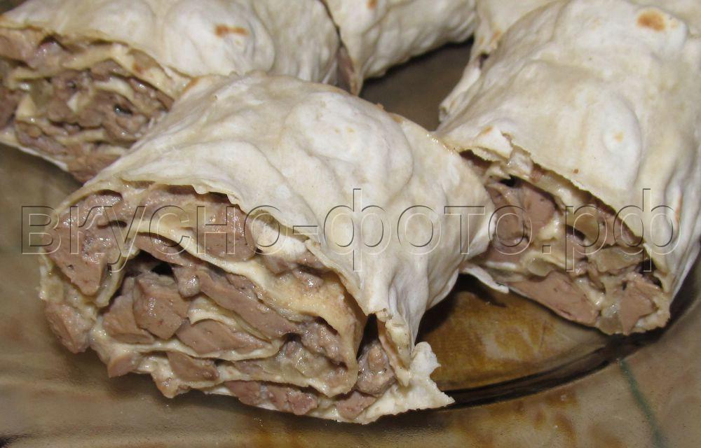 Рулет из лаваша с куриной печенью
