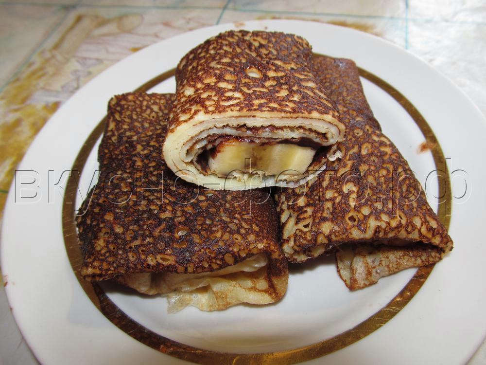 Блины с шоколадно банановой начинкой