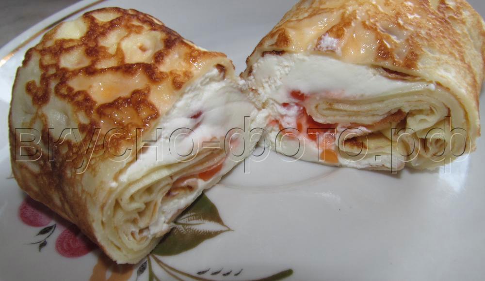 Блинчики со сливочным сыром и красной икрой