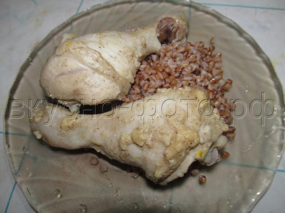 Куриные голени в чесночно-горчичном маринаде в пароварке