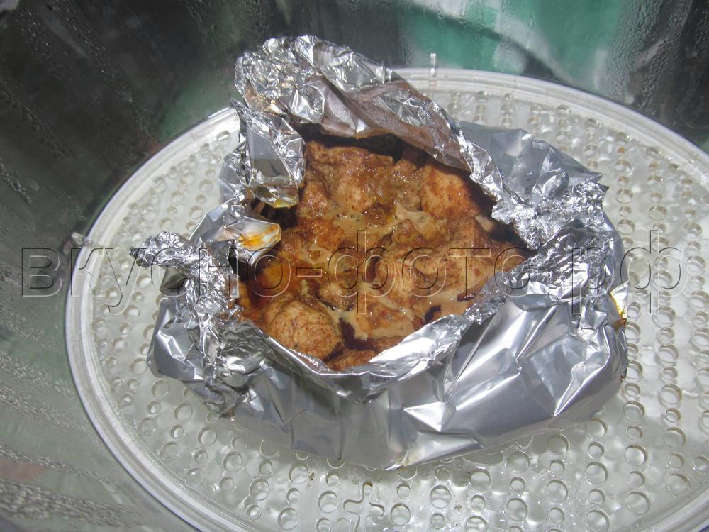 Куриное филе в соевом соусе с карри в пароварке