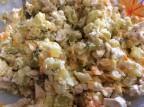 Салат из овощей с вареными молоками лососевых