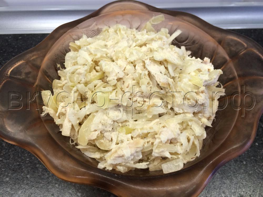 Салат из вареного мяса и редьки